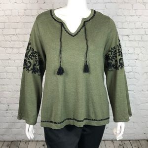 Style & Co Olive Green Embroidered Boho Top Sz 2X